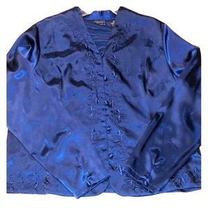 Laura Scott embroidered Blouse Blue Size 18
